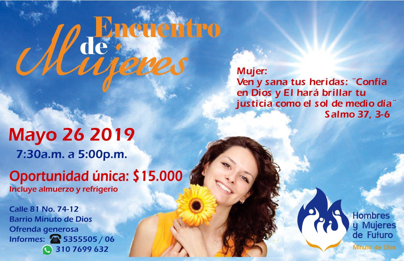 Encuentro de Mujeres, mayo 26 de 2019. Oportunidad única: $15.000